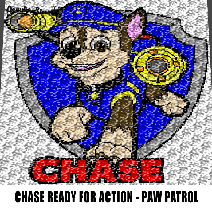 Chase In Action Paw Patrol TV Show Cartoon Character crochet graphgan blanket