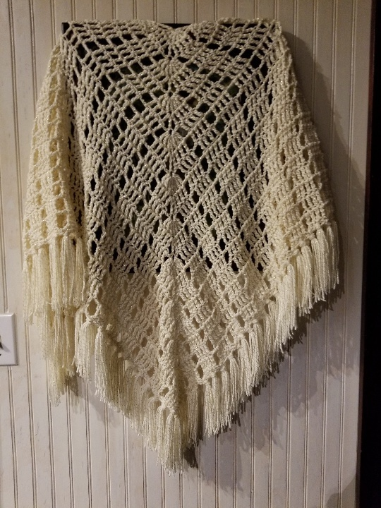 hand crochet Shawl  womens accessories offwhite metallic ~ stylish wrap ~ MADE