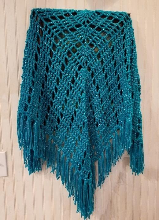 hand crochet Shawl  womens accessories turquoise metallic ~ stylish wrap ~ MADE
