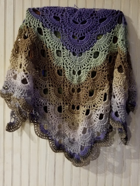 hand crochet Shawl shoulder wrap womens accessories lacy ~ Cabaret Fan Shawl ~