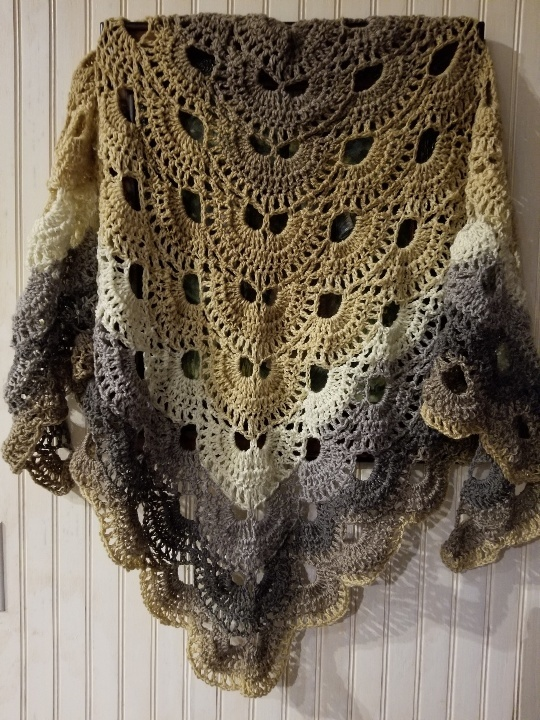 hand crochet Shawl shoulder wrap womens accessories lacy ~ Cabaret Fan Shawl ~