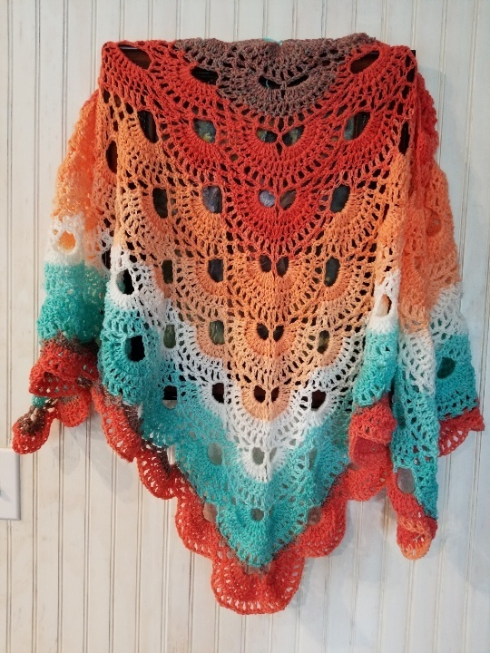 hand crochet Shawl womens accessories lacy ~ Cabaret Fan Shawl ~ Southwest