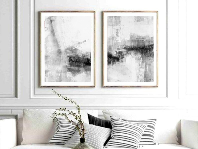Set Of 2 Prints Abstract Art Printable Print By Semelart On Zibbet