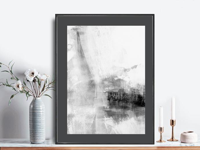 Grey & White Abstract Wall Art, Grey Stripes, Minimalist Art, Brush Stroke