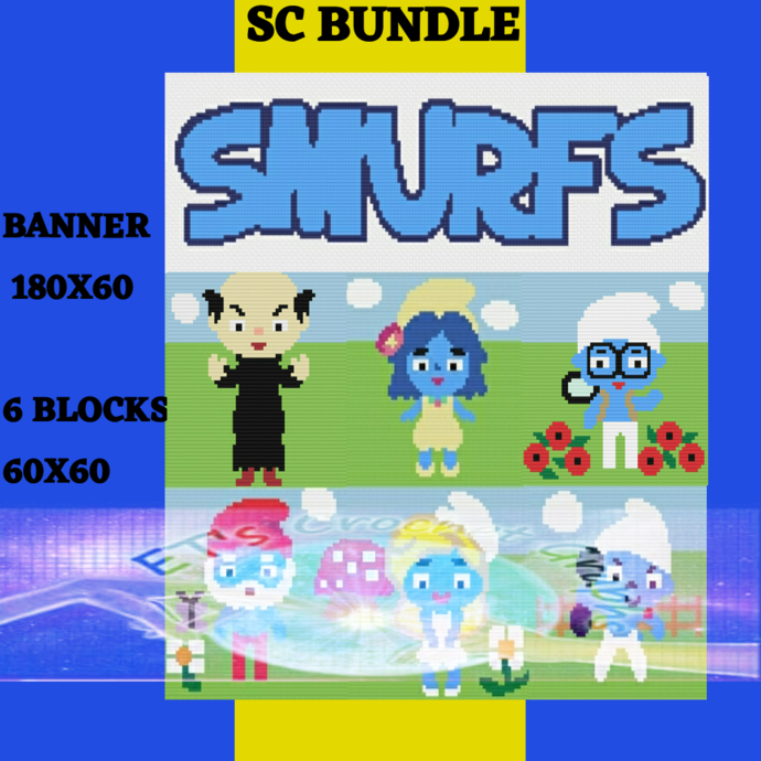 Smurfs Bundle 7 Pattern s includes graphs with color charts
