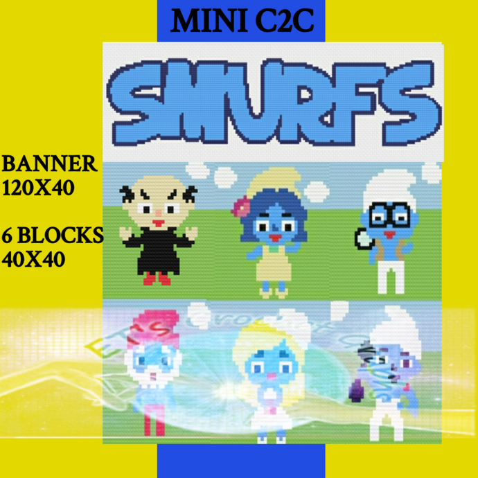 Smurfs Mini C2C Bundle 7 Pattern s includes graphs with color charts
