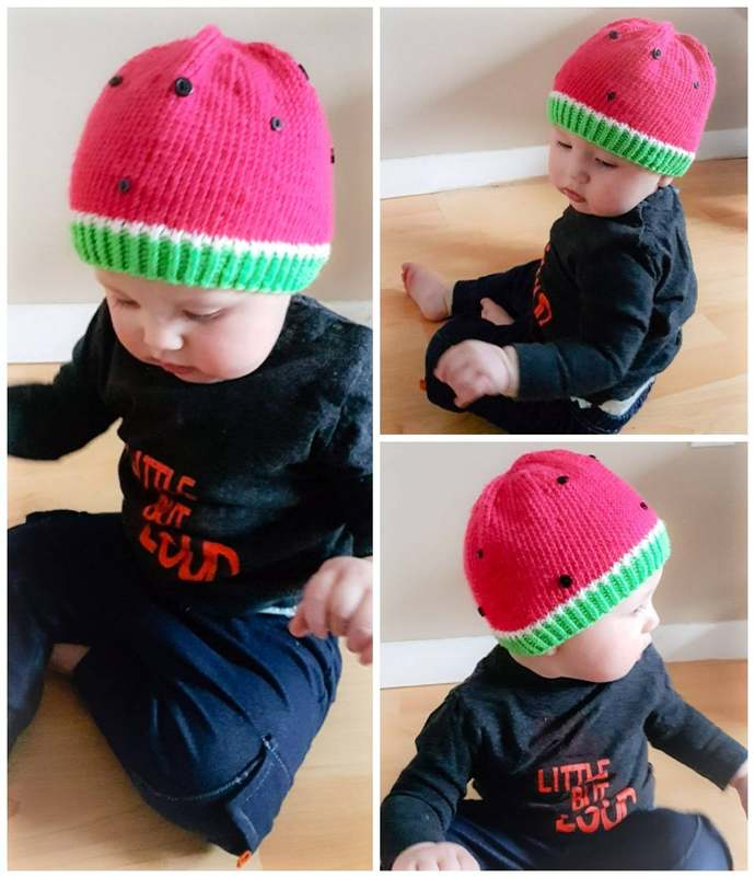 Watermelon Baby Toque Knitting Pattern (Digital Copy)