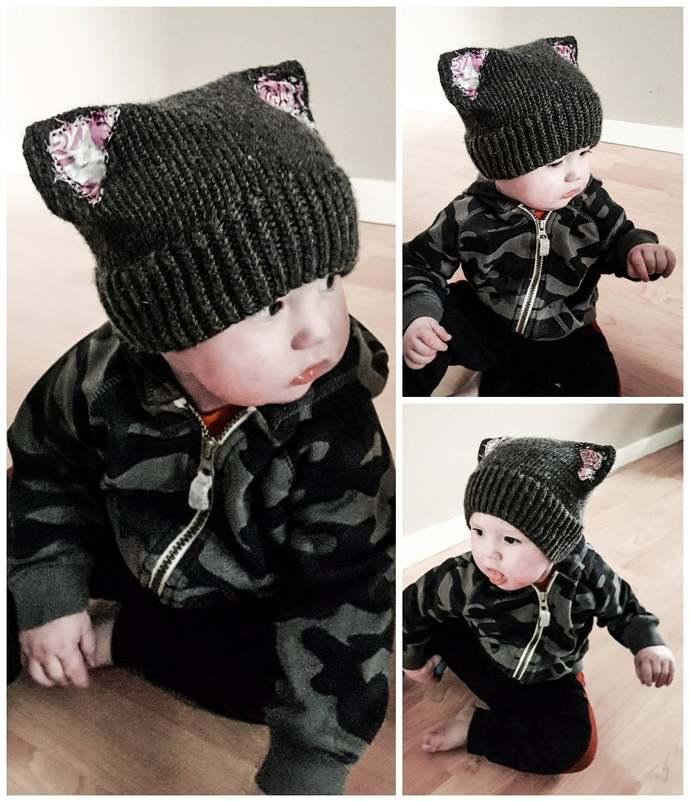 Punk Rock Kitty Baby Toque Knitting Pattern (Digital Copy)