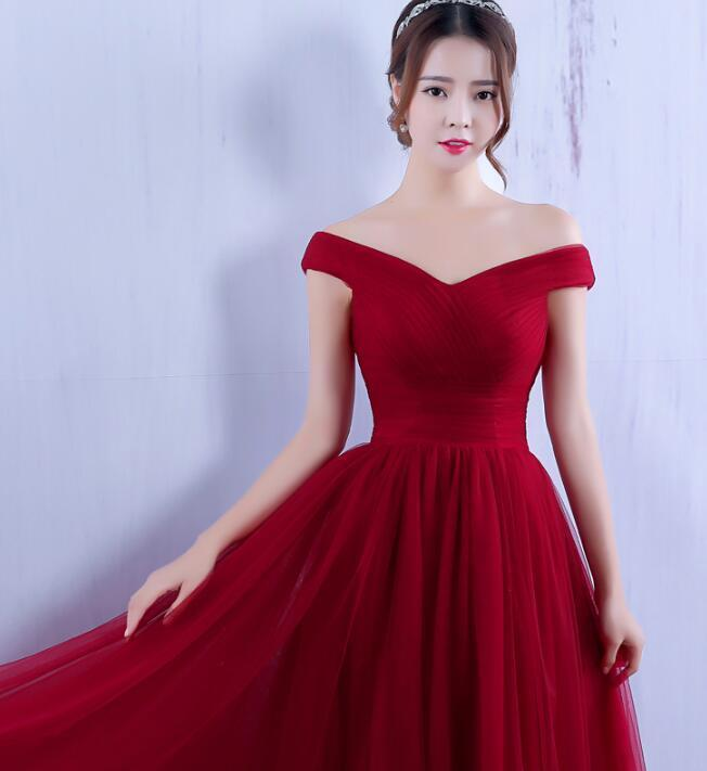 Dark Red Off Shoulder Prom Dress 2020, Long Burgundy Bridesmaid Dress