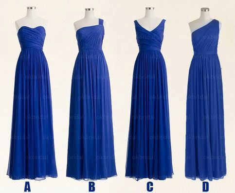 royal blue mismatched bridesmaid dresses long chiffon a line cheap elegant