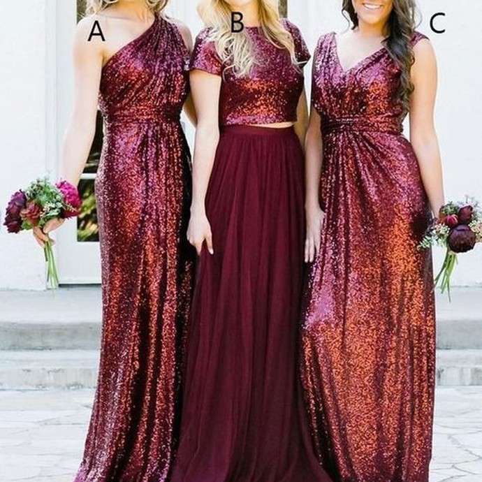 mismatched burgundy bridesmaid dresses long sparkly glitter sequin cheap wedding
