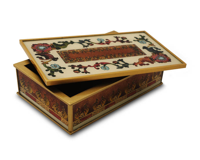 Cigarette Box - Traditional Italian Style with Flowers and Old Gold Leaves -