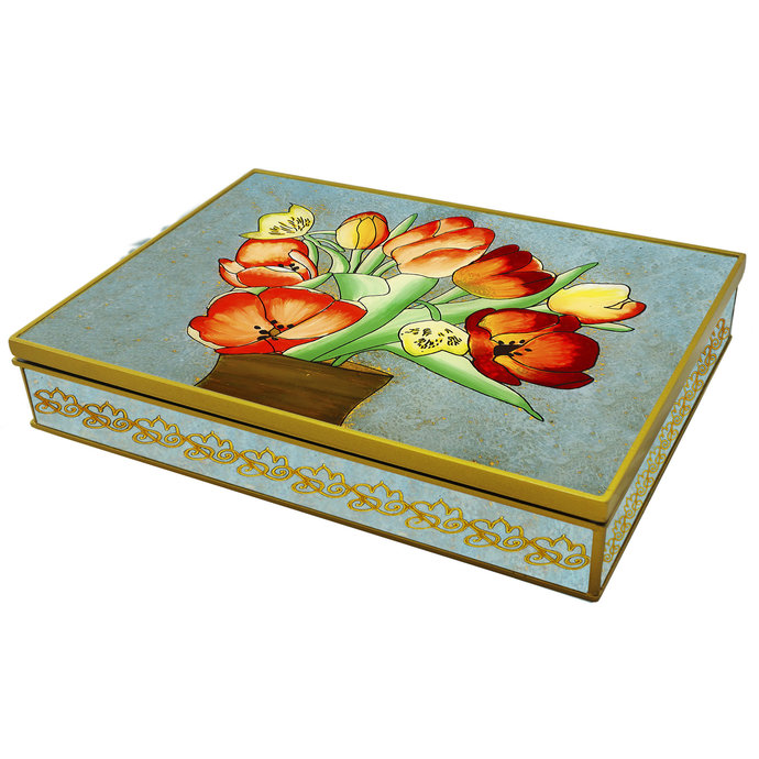 Decorative Memory Box Organizer - Colorful Tulip Bouquet - Rectangular box with