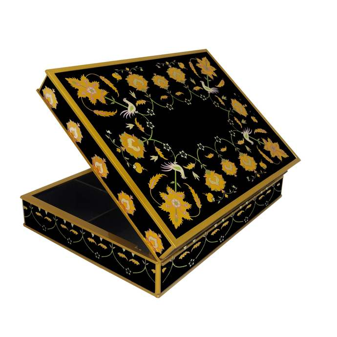 Rustic tea box organizer - Gold leaves with black background - Rectangular box