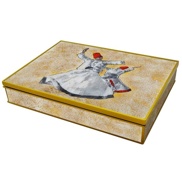 Wooden chest - Turkish Darvish Dancers - Rectangular box with flat lid made of