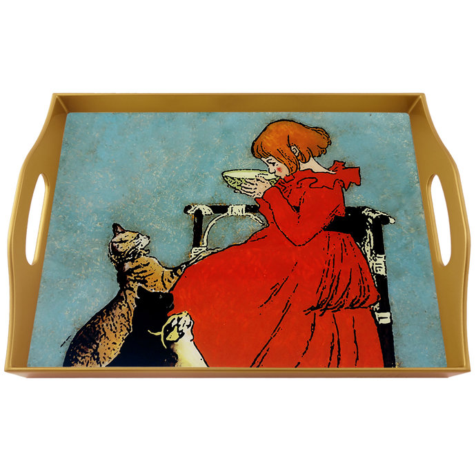 Coffee table tray - Girl drinking milk with cats - Rectangular Hand Painted