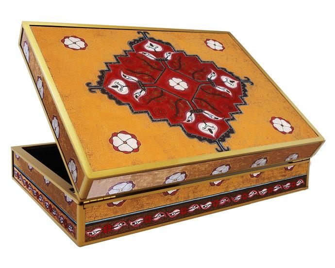 Wedding gift Box, Tea Chest for Ladies - Ethnic Inca Traditional Design -