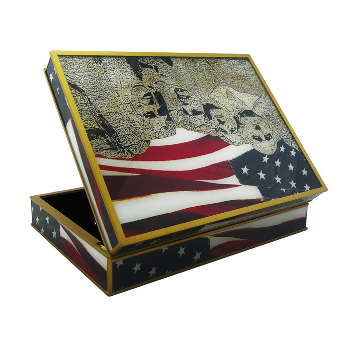 Handmade Tea box hand painted glass - American motive - Rectangular box with