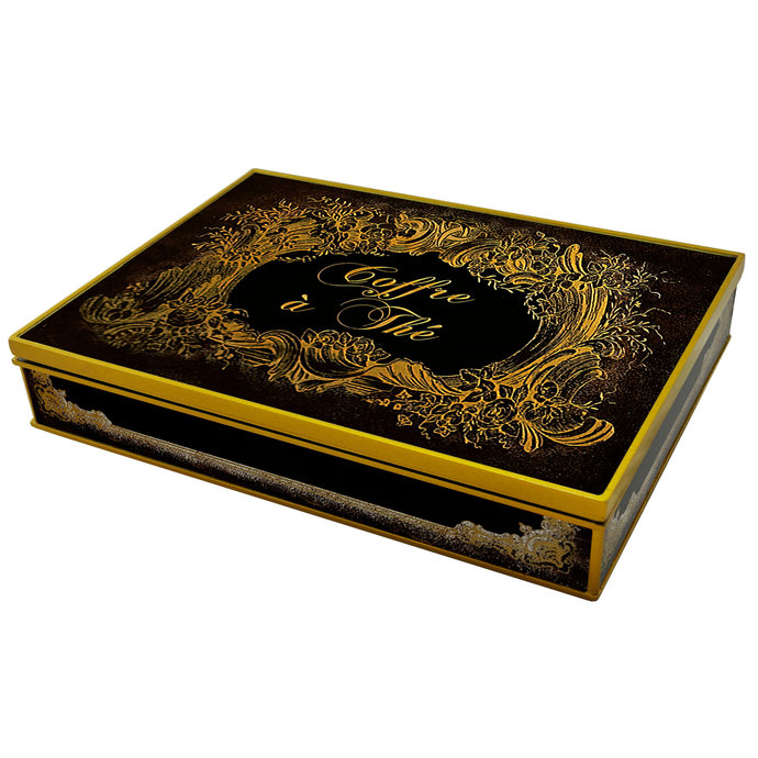 Decorative box - Black and Gold Classical Flower Design - Rectangular box with