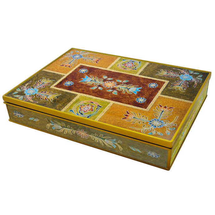Wooden chest - Ethnic Andean Design Small Flowers - Rectangular box with flat