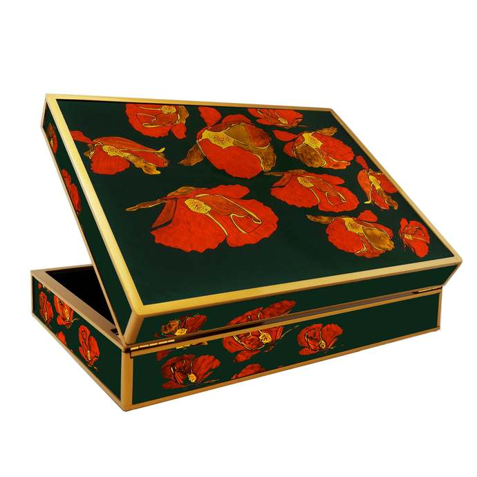 Valentine's Gift Idea, Large Jewellery Box with Compartments - Large flowers Red