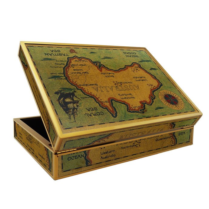 Women Jewelry Box - Old map Australia with Ship and Compass - Rectangular box