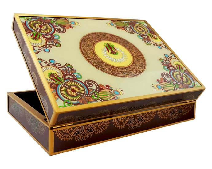 Gift box - Traditional Russian Style Colorful Flowers - Rectangular box with