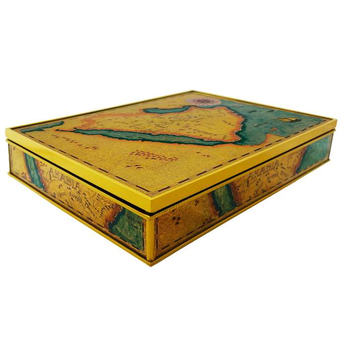 Wooden chest - Old Map Kingdom of Saudi Arabia - Rectangular box with flat lid