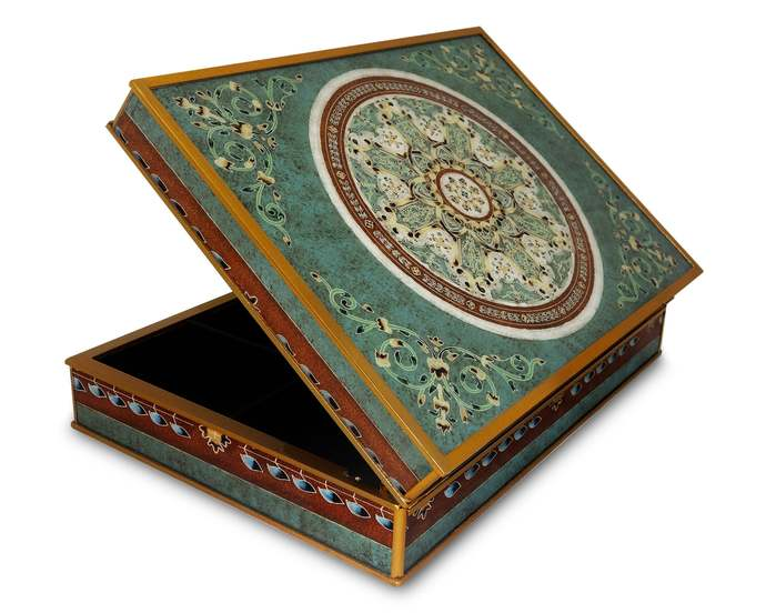 Handmade Tea Chest, Wedding Gift Box- Turquoise Oriental Traditional Miniatures