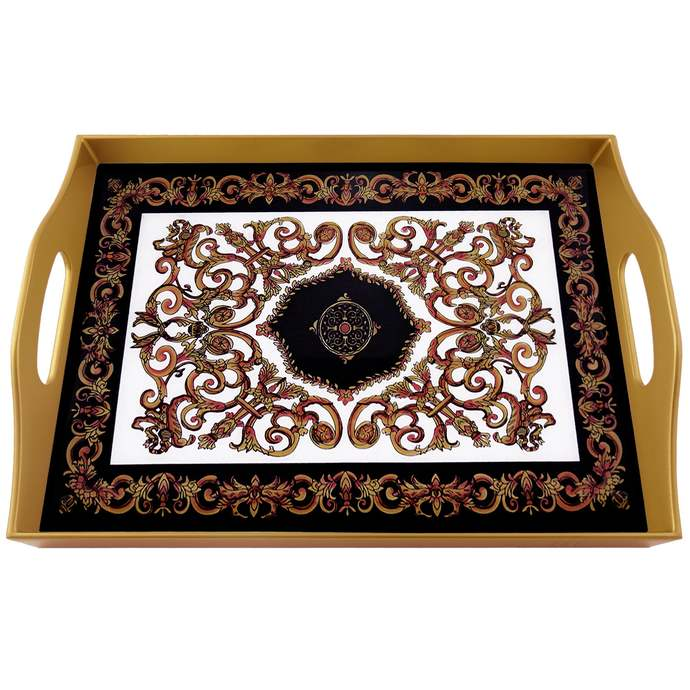 Gift for her - Classic Empire Black and White Design - Rectangular Hand Painted