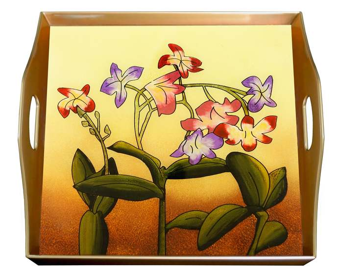 Cheese Tray - Vintage Flower - Square Hand Painted Glass Tray with Gold