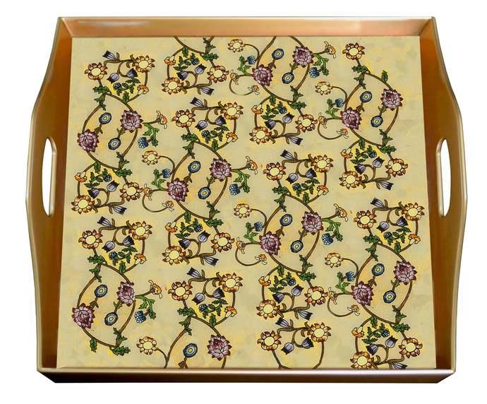 Handmade tray - British design  William Morris - Square Hand Painted Glass Tray