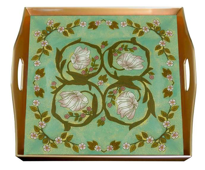 Tray With Handle - Vintage Flower  William Morris Style - Square Hand Painted