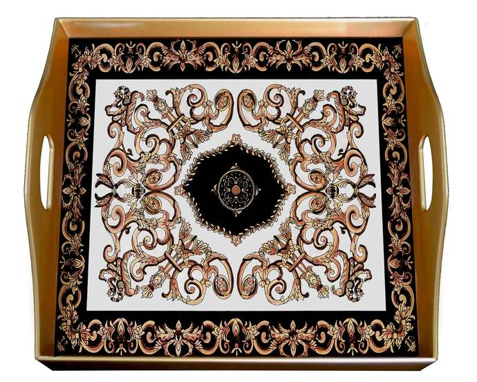 Unique Serving Tray - Classic Empire Black and White Design - Square Hand