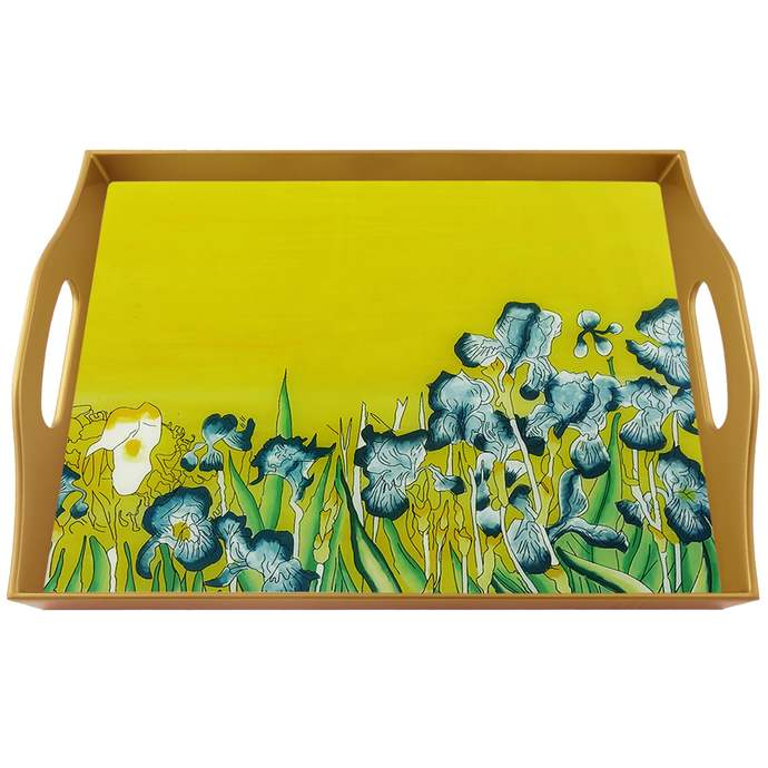 Table Decor Tray - Impresionnist Van Gogh The Irises - Rectangular Hand Painted