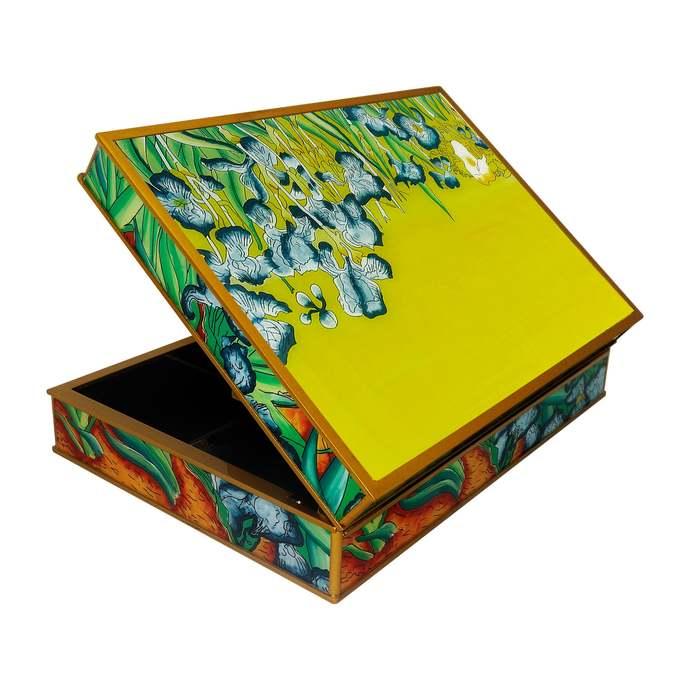 Glass and Wood Tea Box - Impresionist Van Gogh The Irises - Rectangular box with