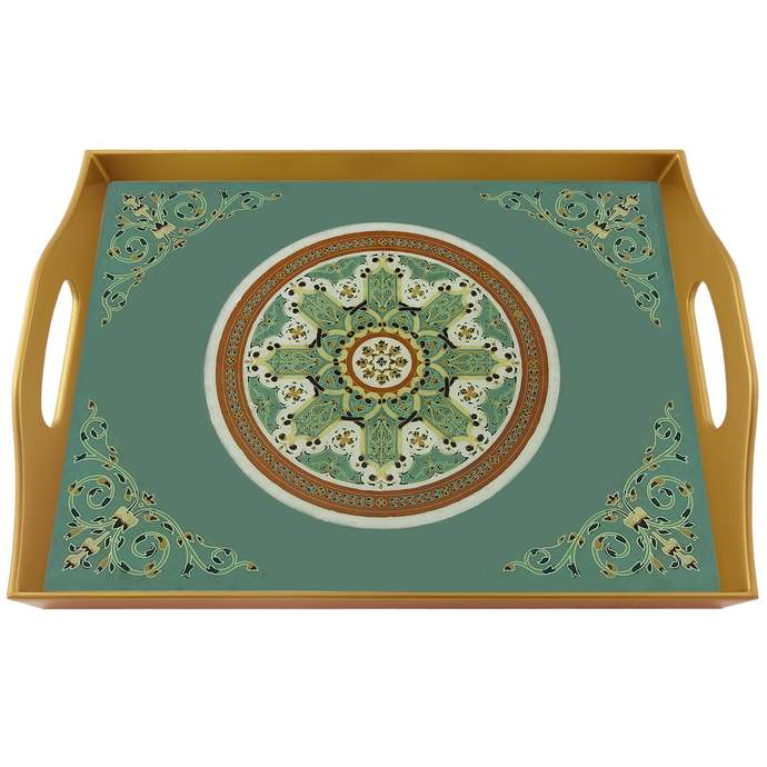 Gift idea - Turquoise Oriental Traditional Miniatures - Rectangular Hand Painted