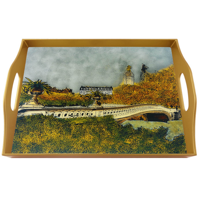 Hand painted tray - New York Central Park Bow Bridge - Rectangular Hand Painted
