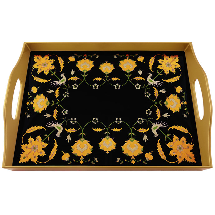 Cheese Tray - Gold leaves with black background - Rectangular Hand Painted Glass