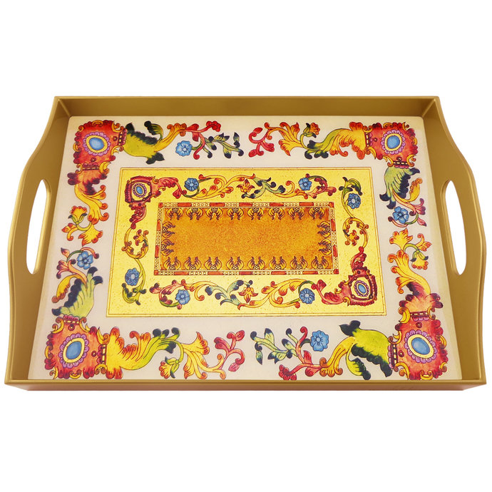 Food tray - Traditional Italian Style with Flowers and Old Gold Leaves -