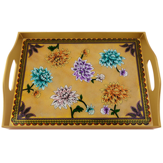 Cheese Tray - Large Lilium Flowers - Rectangular Hand Painted Glass Tray with