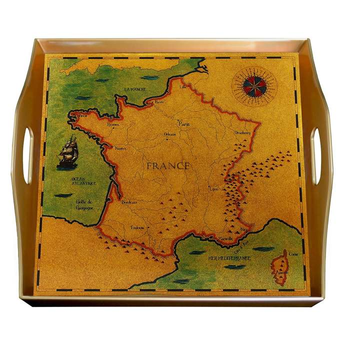 Hand painted glass - Old Map France - Square Hand Painted Glass Tray with Gold
