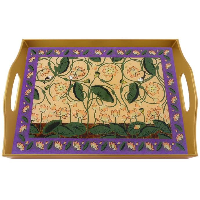Vintage tray - Indian Lotus Flowers with Peach Background - Rectangular Hand