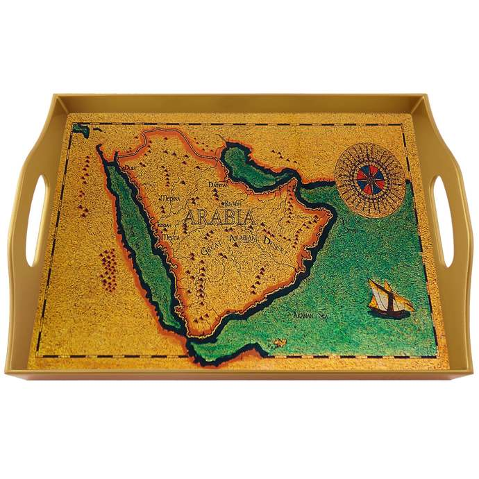 Handmade tray - Old Map Kingdom of Saudi Arabia - Rectangular Hand Painted Glass