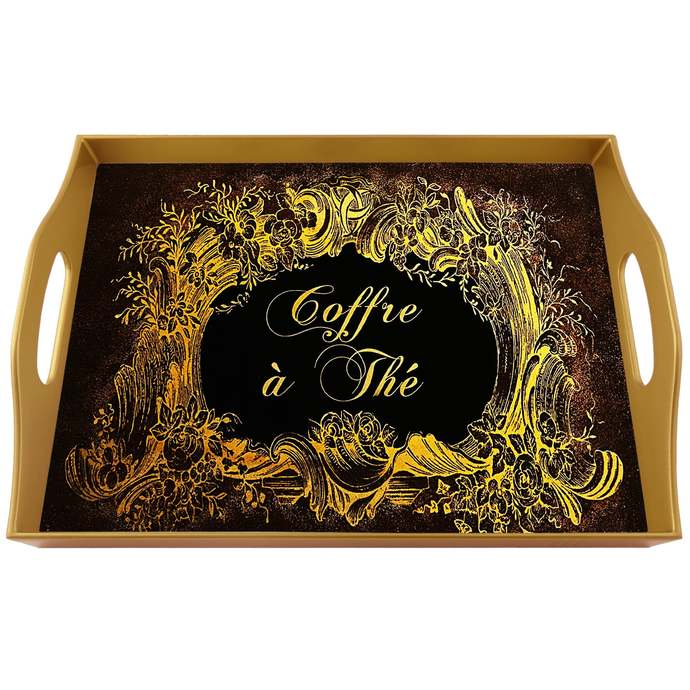 Ottoman tray - Black and Gold Classical Flower Design - Rectangular Hand Painted