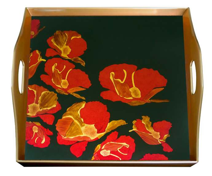 Tray With Handle - Large flowers Red Poppies - Square Hand Painted Glass Tray