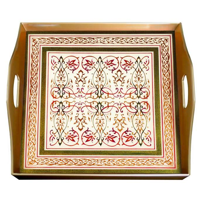 Glass serving tray - Dubai Classic Arabesque - Square Hand Painted Glass Tray