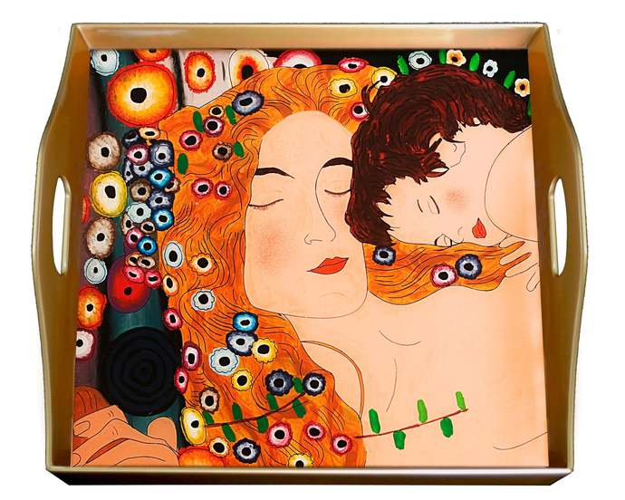 Table Decor Tray - Symbolist Gustav Klimt's 3 ages Mother and Child Love -