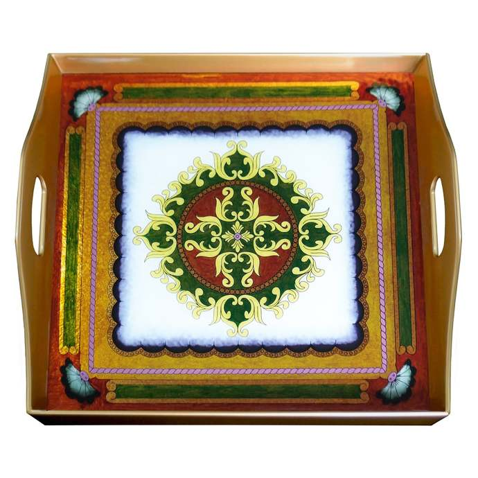 Serving Platter - Peruvian Traditional Colonial Style - Square Hand Painted