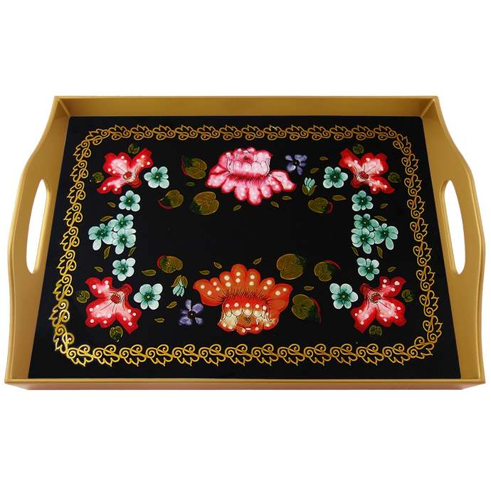 Hand painted glass - Traditional Russian Design with Flowers - Rectangular Hand